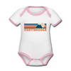 Chattanooga, Tennessee Baby Bodysuit - Organic Retro Mountain Chattanooga Baby Bodysuit - white/pink