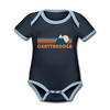 Chattanooga, Tennessee Baby Bodysuit - Organic Retro Mountain Chattanooga Baby Bodysuit - navy/sky