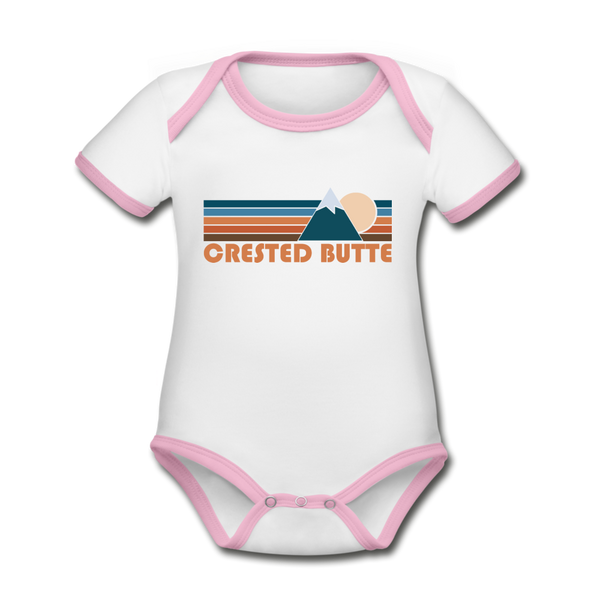 Crested Butte, Colorado Baby Bodysuit - Organic Retro Mountain Crested Butte Baby Bodysuit - white/pink