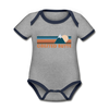 Crested Butte, Colorado Baby Bodysuit - Organic Retro Mountain Crested Butte Baby Bodysuit - heather gray/navy