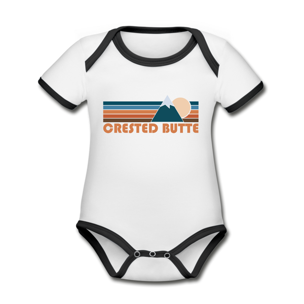 Crested Butte, Colorado Baby Bodysuit - Organic Retro Mountain Crested Butte Baby Bodysuit - white/black