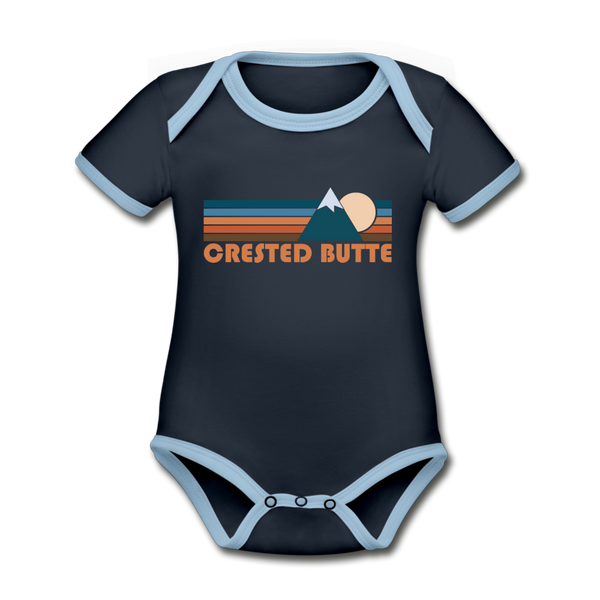 Crested Butte, Colorado Baby Bodysuit - Organic Retro Mountain Crested Butte Baby Bodysuit - navy/sky