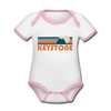 Keystone, Colorado Baby Bodysuit - Organic Retro Mountain Keystone Baby Bodysuit - white/pink