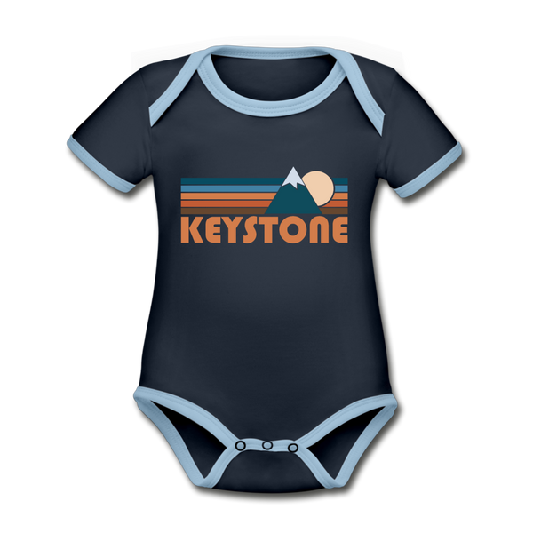 Keystone, Colorado Baby Bodysuit - Organic Retro Mountain Keystone Baby Bodysuit - navy/sky