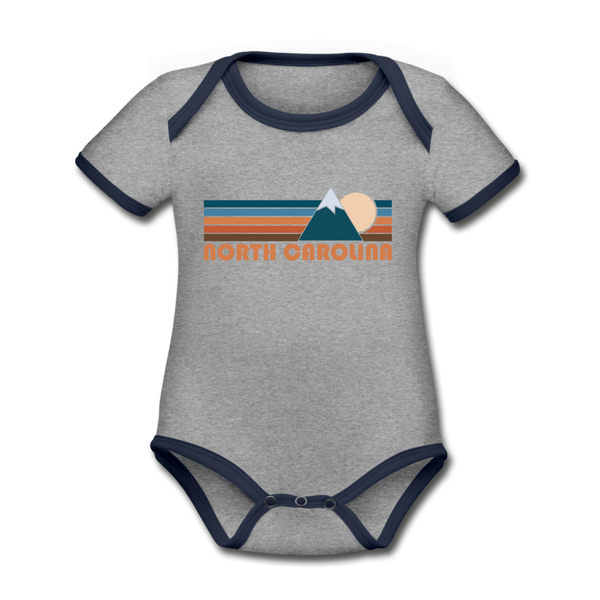 North Carolina Baby Bodysuit - Organic Retro Mountain North Carolina Baby Bodysuit - heather gray/navy