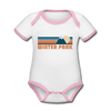 Winter Park, Colorado Baby Bodysuit - Organic Retro Mountain Winter Park Baby Bodysuit - white/pink