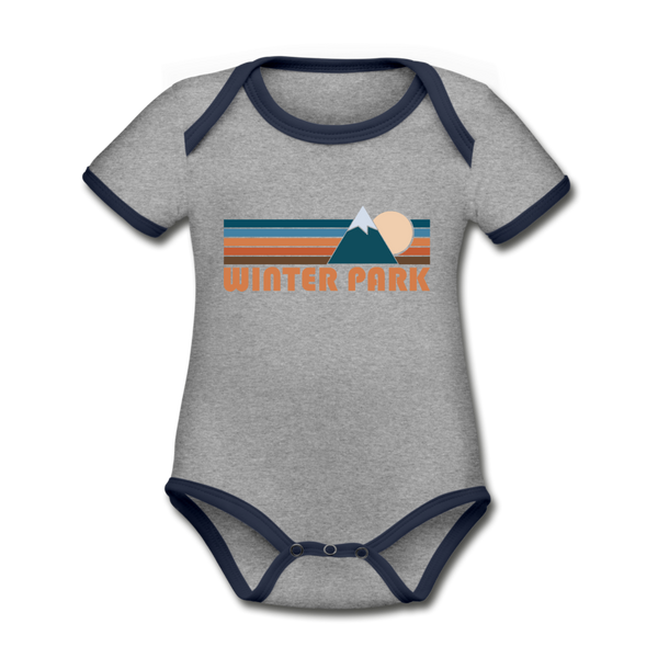 Winter Park, Colorado Baby Bodysuit - Organic Retro Mountain Winter Park Baby Bodysuit - heather gray/navy