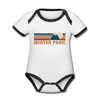 Winter Park, Colorado Baby Bodysuit - Organic Retro Mountain Winter Park Baby Bodysuit - white/black