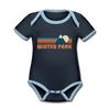Winter Park, Colorado Baby Bodysuit - Organic Retro Mountain Winter Park Baby Bodysuit - navy/sky