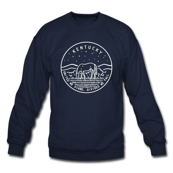 Kentucky Sweatshirt - State Design Kentucky Crewneck Sweatshirt - navy