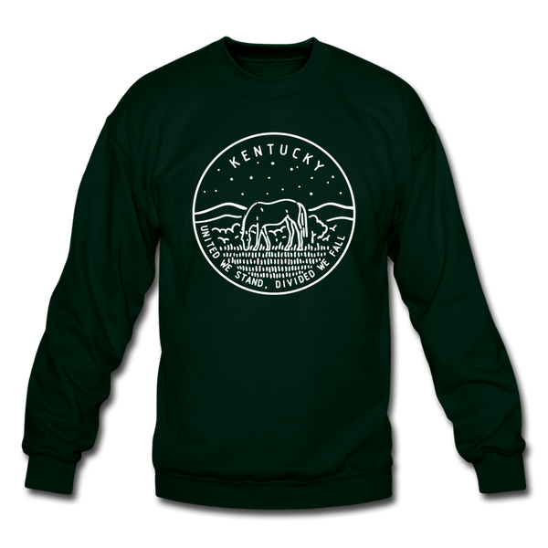 Kentucky Sweatshirt - State Design Kentucky Crewneck Sweatshirt - forest green