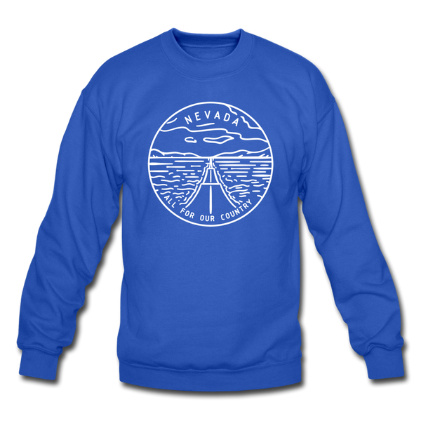 Nevada Sweatshirt - State Design Nevada Crewneck Sweatshirt - royal blue