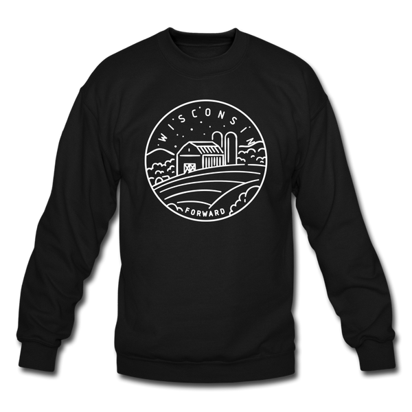 Wisconsin Sweatshirt - State Design Wisconsin Crewneck Sweatshirt - black