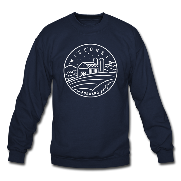Wisconsin Sweatshirt - State Design Wisconsin Crewneck Sweatshirt - navy