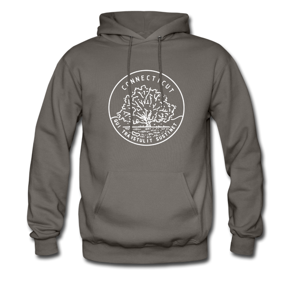 Connecticut Hoodie - State Design Unisex Connecticut Hooded Sweatshirt - asphalt gray