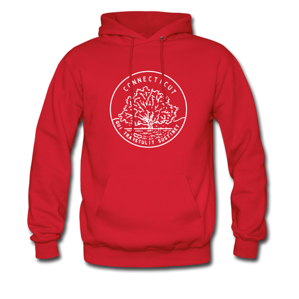 Connecticut Hoodie - State Design Unisex Connecticut Hooded Sweatshirt - red