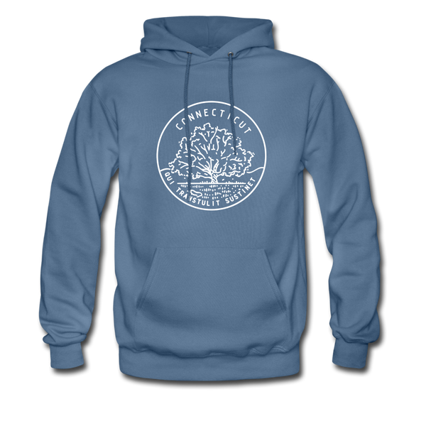 Connecticut Hoodie - State Design Unisex Connecticut Hooded Sweatshirt - denim blue