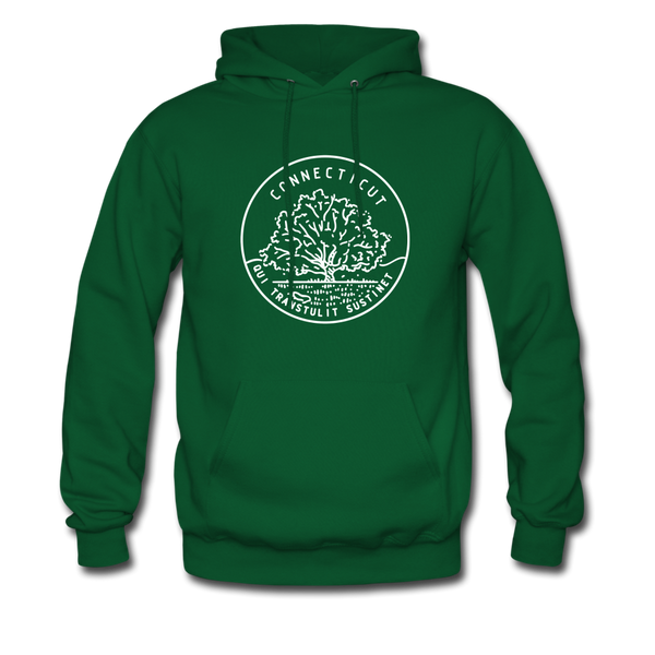Connecticut Hoodie - State Design Unisex Connecticut Hooded Sweatshirt - forest green