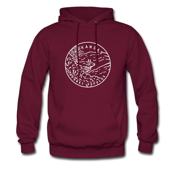 Arkansas Hoodie - State Design Unisex Arkansas Hooded Sweatshirt - burgundy