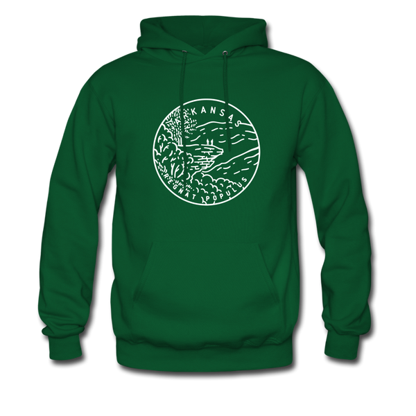 Arkansas Hoodie - State Design Unisex Arkansas Hooded Sweatshirt - forest green