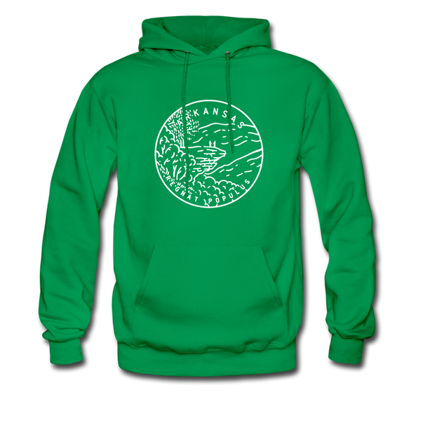 Arkansas Hoodie - State Design Unisex Arkansas Hooded Sweatshirt - kelly green