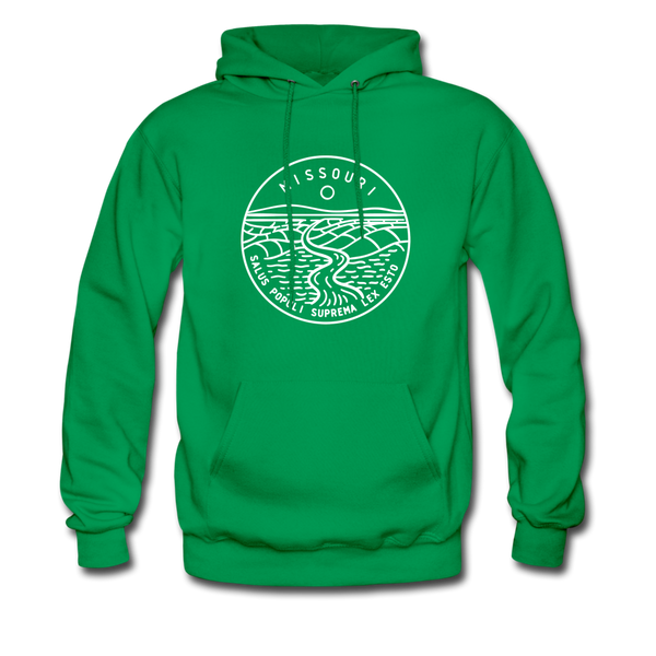 Missouri Hoodie - State Design Unisex Missouri Hooded Sweatshirt - kelly green