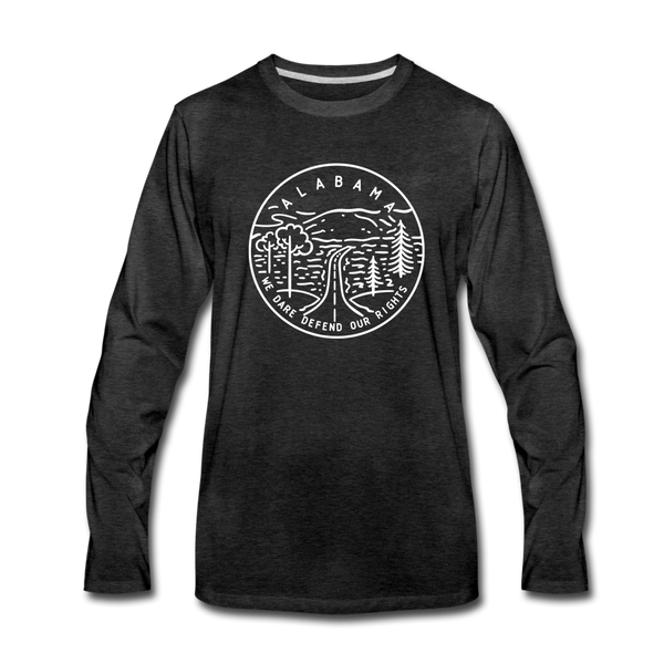 Alabama Long Sleeve T-Shirt - State Design Unisex Alabama Long Sleeve Shirt - charcoal gray