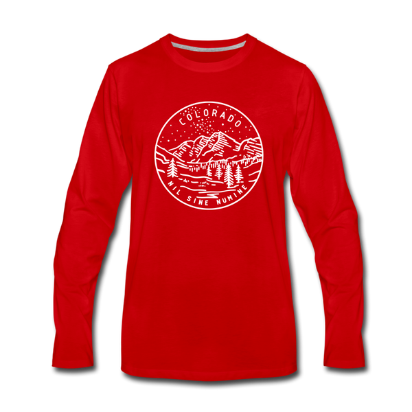 Colorado Long Sleeve T-Shirt - State Design Unisex Colorado Long Sleeve Shirt - red