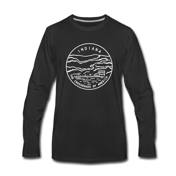 Indiana Long Sleeve T-Shirt - State Design Unisex Indiana Long Sleeve Shirt - black