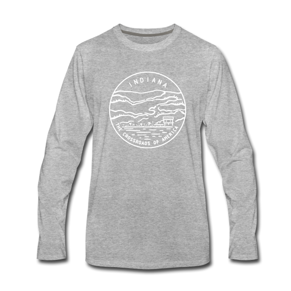 Indiana Long Sleeve T-Shirt - State Design Unisex Indiana Long Sleeve Shirt - heather gray