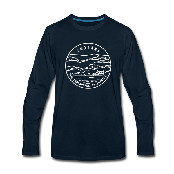 Indiana Long Sleeve T-Shirt - State Design Unisex Indiana Long Sleeve Shirt - deep navy