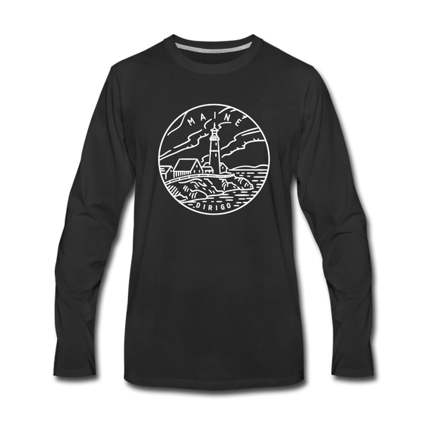 Maine Long Sleeve T-Shirt - State Design Unisex Maine Long Sleeve Shirt - black