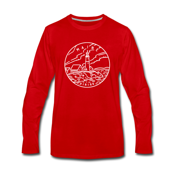 Maine Long Sleeve T-Shirt - State Design Unisex Maine Long Sleeve Shirt - red