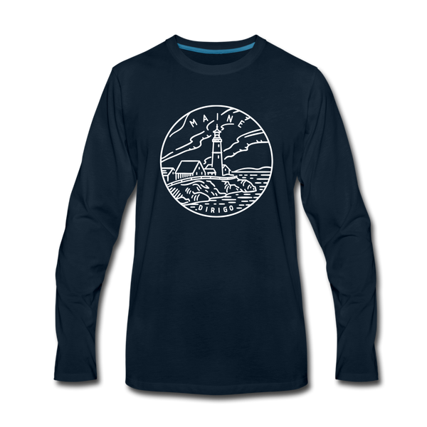 Maine Long Sleeve T-Shirt - State Design Unisex Maine Long Sleeve Shirt - deep navy