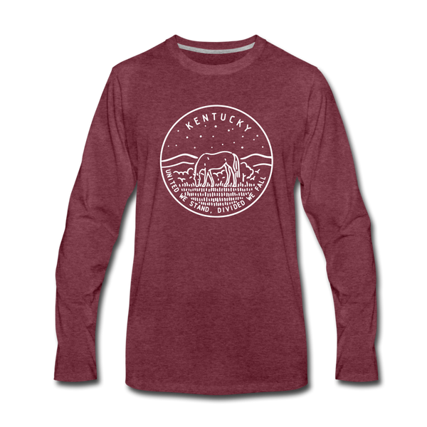 Kentucky Long Sleeve T-Shirt - State Design Unisex Kentucky Long Sleeve Shirt - heather burgundy