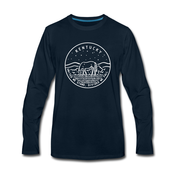 Kentucky Long Sleeve T-Shirt - State Design Unisex Kentucky Long Sleeve Shirt - deep navy