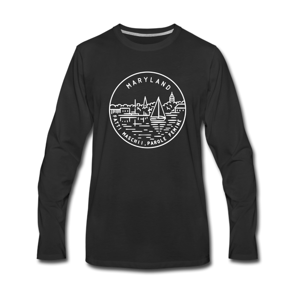 Maryland Long Sleeve T-Shirt - State Design Unisex Maryland Long Sleeve Shirt - black