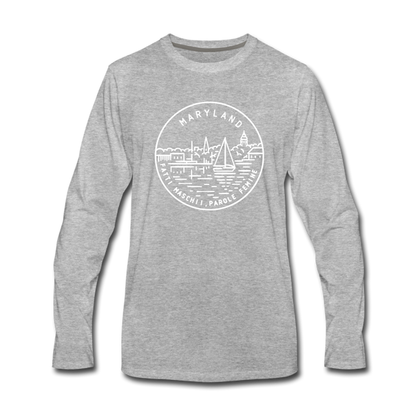 Maryland Long Sleeve T-Shirt - State Design Unisex Maryland Long Sleeve Shirt - heather gray