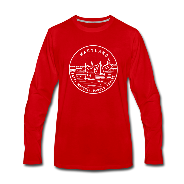 Maryland Long Sleeve T-Shirt - State Design Unisex Maryland Long Sleeve Shirt - red