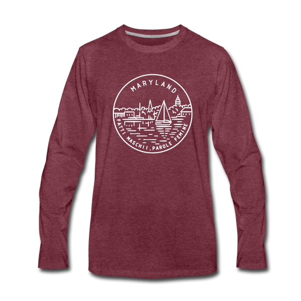 Maryland Long Sleeve T-Shirt - State Design Unisex Maryland Long Sleeve Shirt - heather burgundy