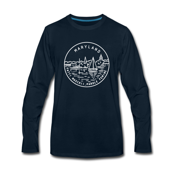Maryland Long Sleeve T-Shirt - State Design Unisex Maryland Long Sleeve Shirt - deep navy