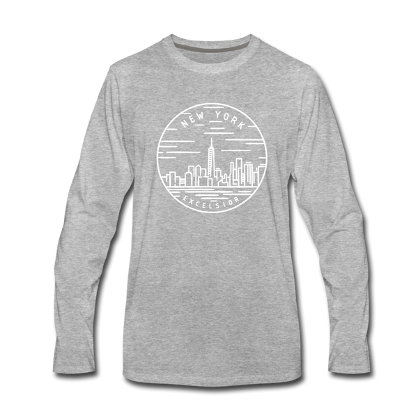 New York Long Sleeve T-Shirt - State Design Unisex New York Long Sleeve Shirt - heather gray