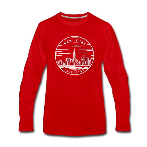New York Long Sleeve T-Shirt - State Design Unisex New York Long Sleeve Shirt - red