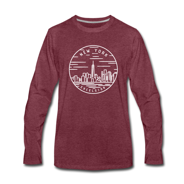 New York Long Sleeve T-Shirt - State Design Unisex New York Long Sleeve Shirt - heather burgundy