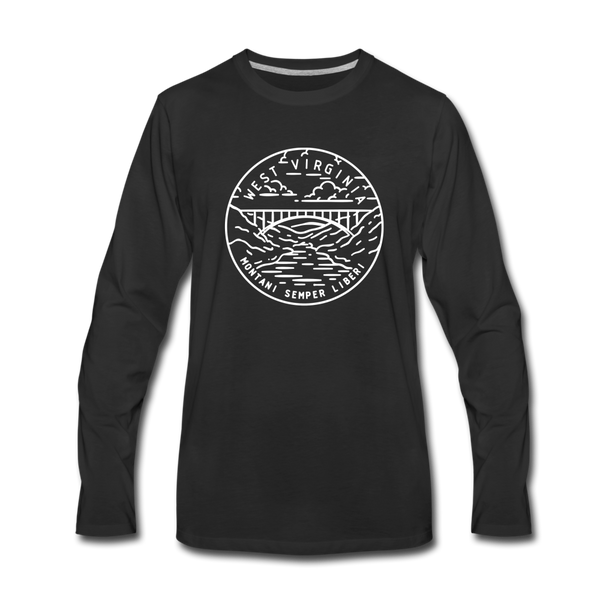 West Virginia Long Sleeve T-Shirt - State Design Unisex West Virginia Long Sleeve Shirt - black