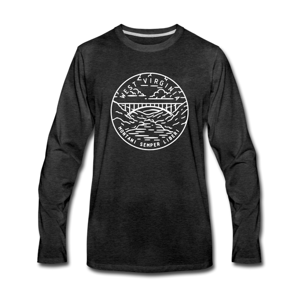 West Virginia Long Sleeve T-Shirt - State Design Unisex West Virginia Long Sleeve Shirt - charcoal gray