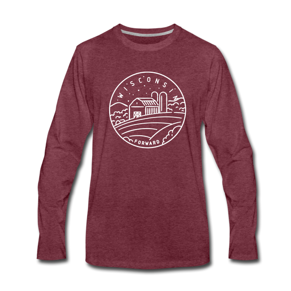 Wisconsin Long Sleeve T-Shirt - State Design Unisex Wisconsin Long Sleeve Shirt - heather burgundy