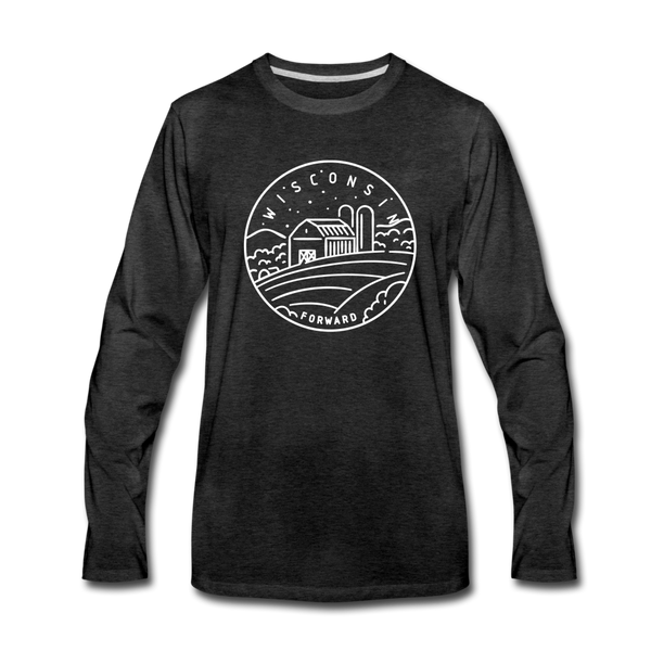 Wisconsin Long Sleeve T-Shirt - State Design Unisex Wisconsin Long Sleeve Shirt - charcoal gray