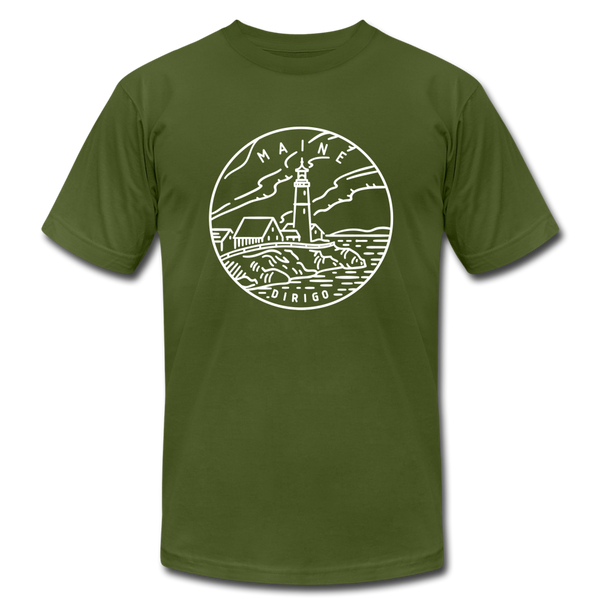 Maine T-Shirt - State Design Unisex Maine T Shirt - olive