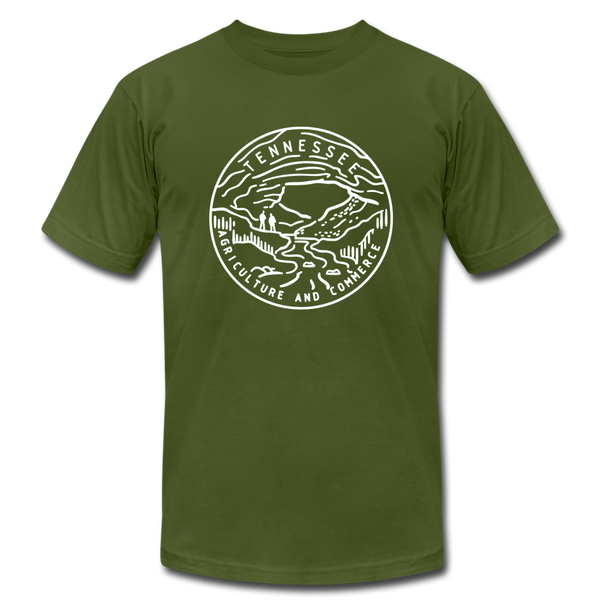 Tennessee T-Shirt - State Design Unisex Tennessee T Shirt - olive